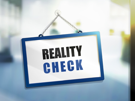 reality check text on hanging sign, isolated bright blur background, 3d illustration Ilustração