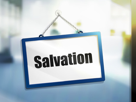 salvation text on hanging sign, isolated bright blur background, 3d illustration