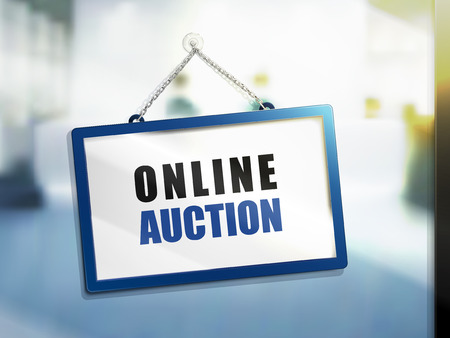 e auction: online auction text on hanging sign, isolated bright blur background, 3d illustration