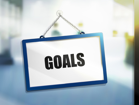 3d illustration of goals text on hanging sign.