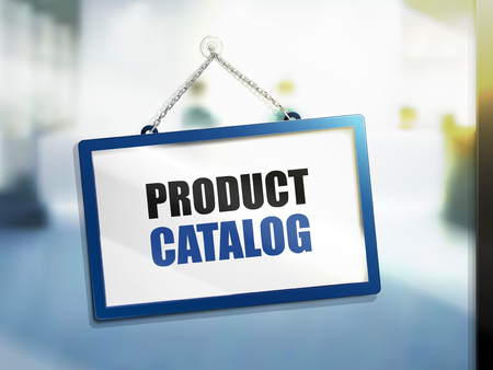 3D illustration of product catalog text on hanging sign.