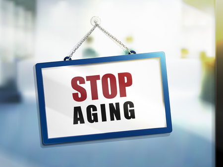 3D illustration of stop aging on hanging sign.