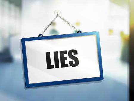 3D illustratie van leugentekst bij het hangen van teken.