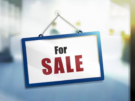 apartment or house for sale text on hanging sign, isolated bright blur background, 3d illustration