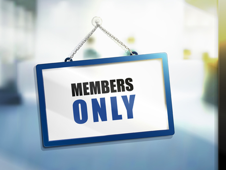 3D illustration of Members Only text on hanging sign