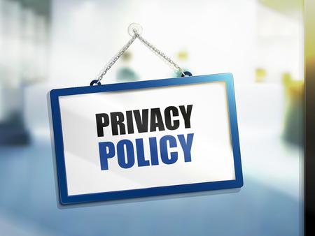 3D illustratie van Privacybeleid tekst op hangende teken