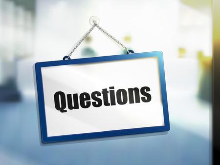 3D illustratie van vragen tekst op opknoping teken