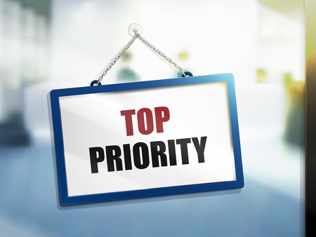 top priority text on hanging sign, isolated bright blur background, 3d illustration