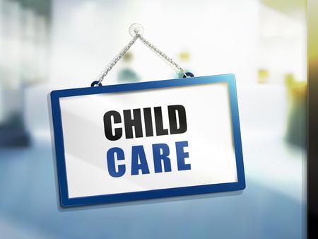 Kinderbetreuungstext auf hängendem Zeichen, lokalisierter heller Unschärfehintergrund, Illustration 3d Standard-Bild - 78179160