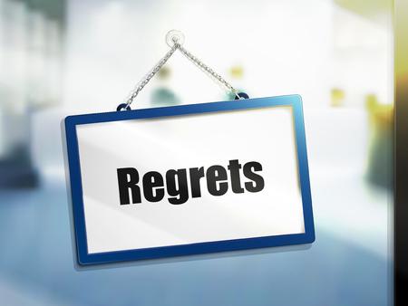 3D illustration of regrets text on hanging sign Reklamní fotografie - 78182480