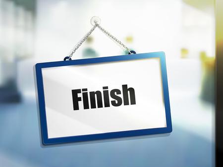3D illustration of Finish text on hanging sign Illustration