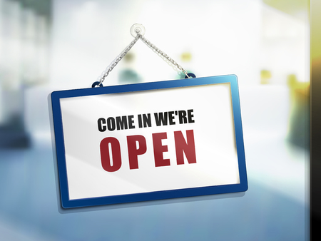 come in we are open text on hanging sign, isolated bright blur background, 3d illustration
