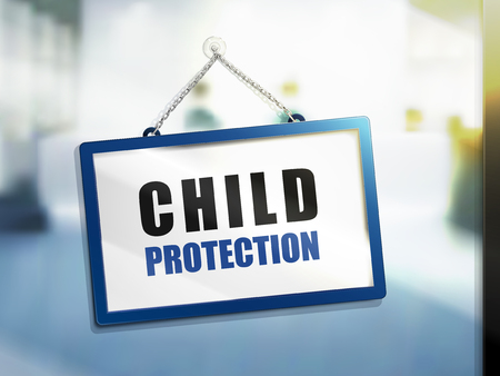 child protection text on hanging sign, isolated bright blur background, 3d illustration