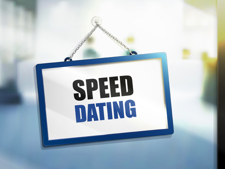 speed dating text on hanging sign, isolated bright blur background, 3d illustration