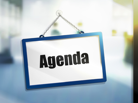 agenda text on hanging sign, isolated bright blur background, 3d illustration Illustration