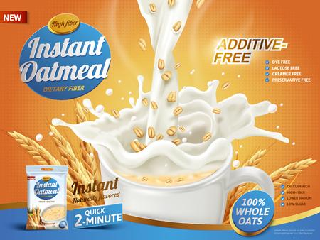 オートミール広告、3 d イラストレーション、エンバク要素一杯に注いでミルク