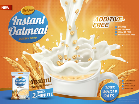 oatmeal ad, with milk pouring into a cup and oat elements, 3d illustration