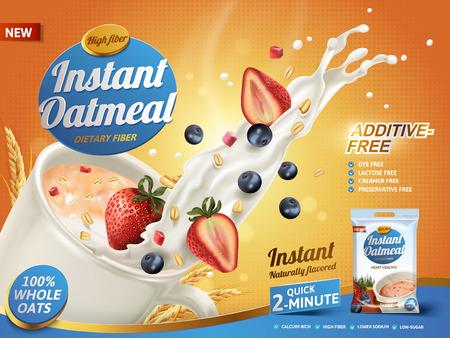 오트밀 광고, 우유 튀는 및 혼합 된 딸기, 3d 일러스트 일러스트