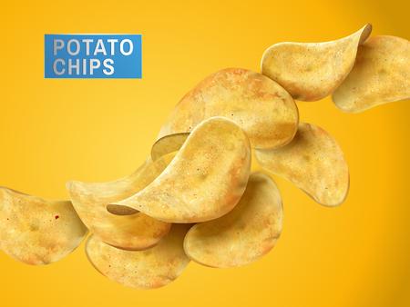 Sliced potato chips still life, yellow background 3d illustration Illustration