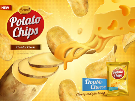 potato chips advertisement, double cheese flavor 3d illustration