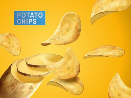 Potato chips sliced from a complete potato, can be used as design elements, 3d illustration Ilustração