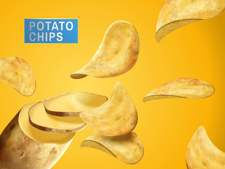 Potato chips sliced from a complete potato, can be used as design elements, 3d illustration Illustration