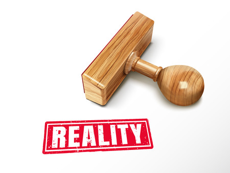 Reality red text with lying wooden stamp, 3D illustration