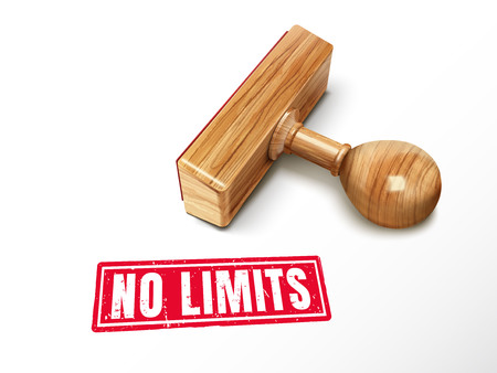 no limits red text with lying wooden stamp, 3d illustration Illustration