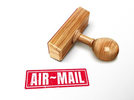 Luchtpost rode tekst met het liggen houten zegel, 3d illustratie