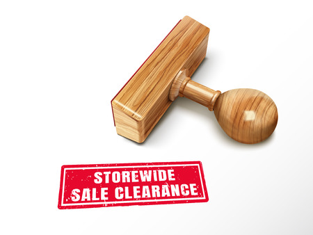 Storewide sale clearance red text with lying wooden stamp, 3d illustration