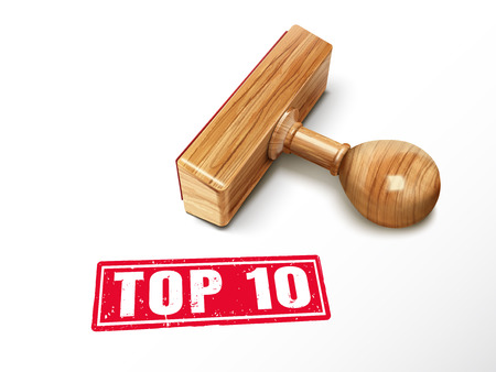 Top 10 red text with lying wooden stamp, 3d illustration