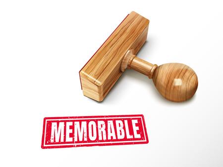 横になっている木製スタンプ、3 d イラストで記憶に残る赤いテキスト  イラスト・ベクター素材
