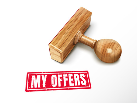 Mijn aanbiedingen rode tekst met het liggen houten zegel, 3d illustratie Stockfoto - 78671570