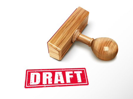 draft red text with lying wooden stamp, 3d illustration