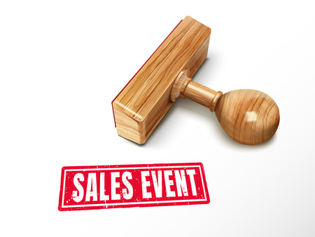 sales event red text with lying wooden stamp, 3d illustration Illustration
