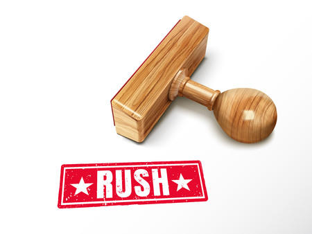 Rush red text with lying wooden stamp, 3d illustration