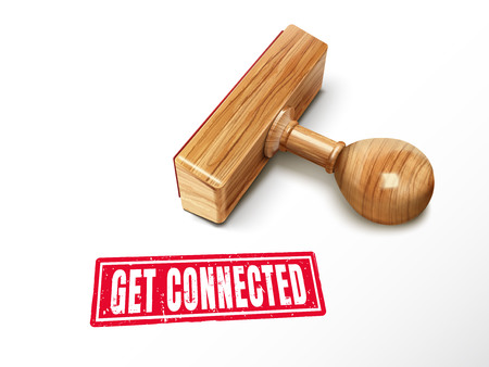 Get connected red text with lying wooden stamp, 3d illustration