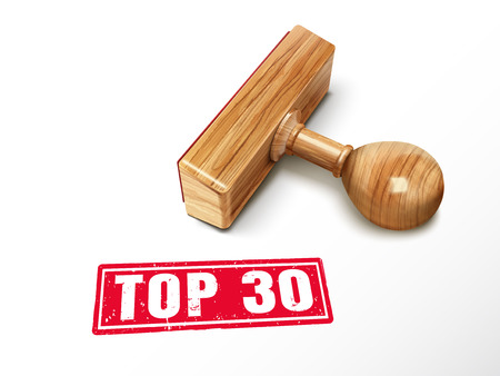 Top 30 red text with lying wooden stamp, 3d illustration