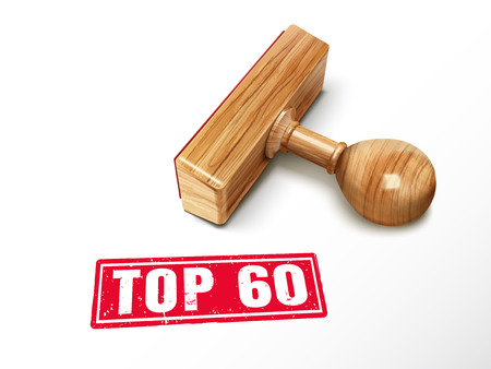 top 60 red text with lying wooden stamp, 3d illustration Illustration