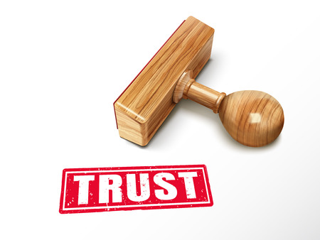 Vertrouw op rode tekst met het liggen houten zegel, 3d illustratie