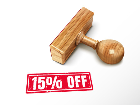 15 percent off red text with lying wooden stamp, 3d illustration