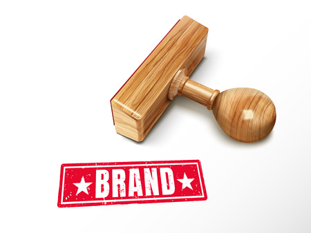 Brand red text with lying wooden stamp, 3d illustration