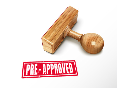 pre-approved red text with lying wooden stamp, 3d illustration