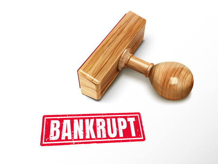 Bankrupt red text with lying wooden stamp, 3d illustration
