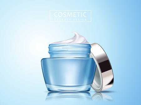 cosmetic cream contained in blank cosmetic jar, isolated light blue background 3d illustration, can be used as design elements Illustration