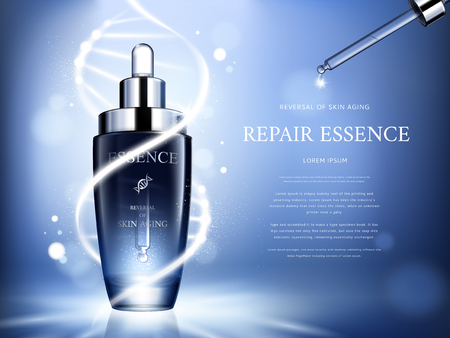 Dark blue repair essence with helical structure and droplet bottle, 3d illustration