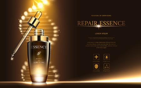 暗いゴールド リペア エッセンス螺旋構造と滴瓶、3 d イラストレーション  イラスト・ベクター素材