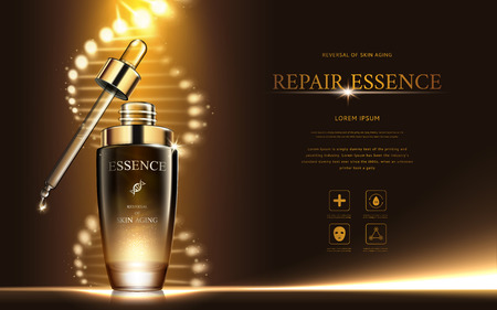 Dark gold repair essence with helical structure and droplet bottle, 3d illustration
