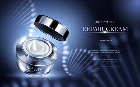 夜集中の修復クリーム螺旋構造、3 d イラストレーションと銀化粧品の瓶に含まれています。  イラスト・ベクター素材