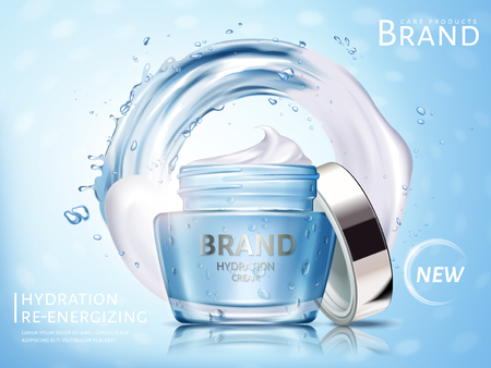 Hydration cosmetic cream ad, with water flow and white cream elements, 3d illustration Çizim
